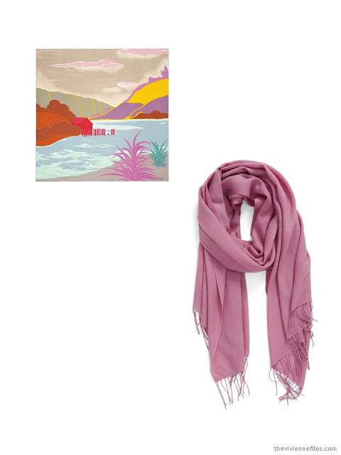 two classic scarves, in sand, orange and rose