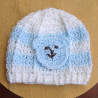crochet beanie with teddy applique