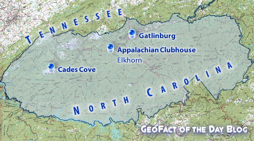 GeoFact of the Day Blog-edited National Park Service map showing locations of the UNESCO Heritage Site boundaries, Cades Cove Valley, Appalachian Clubhouse, and the city of Gatlinburg, TN