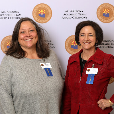 Photo of Karen and Andrea at awards ceremony