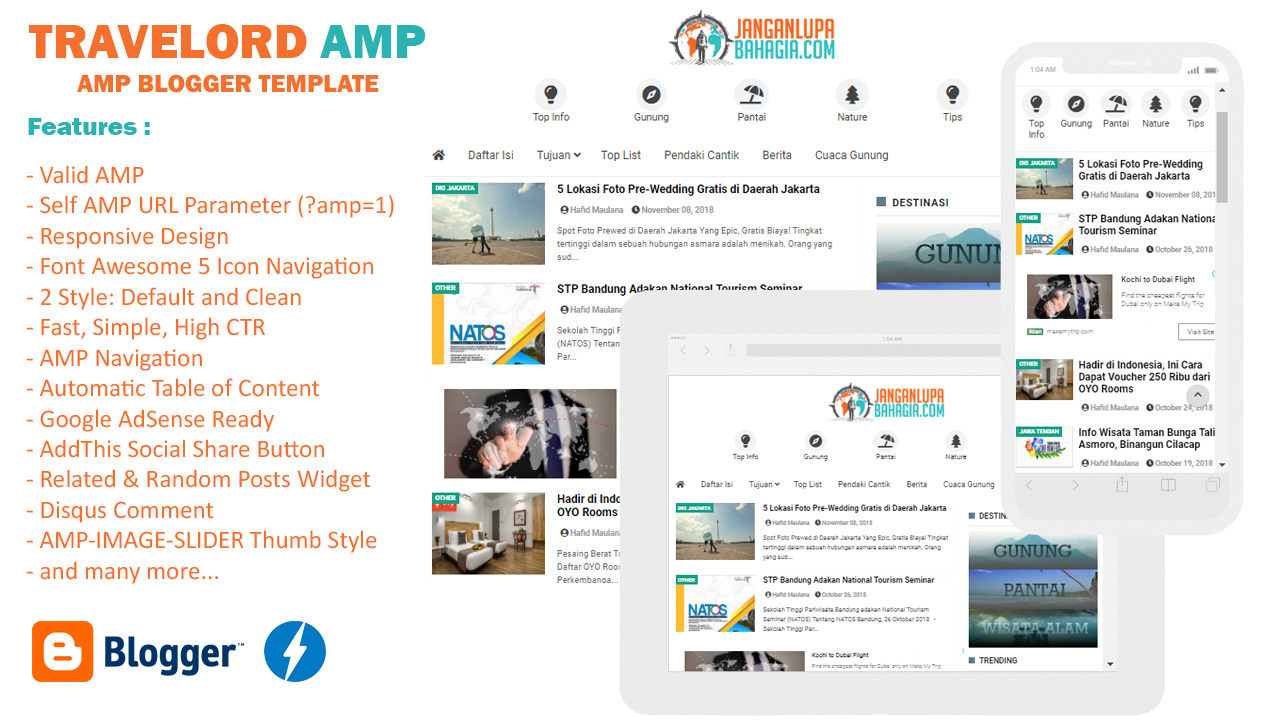 Travelord AMP, Google AMP Ready Blogger Template