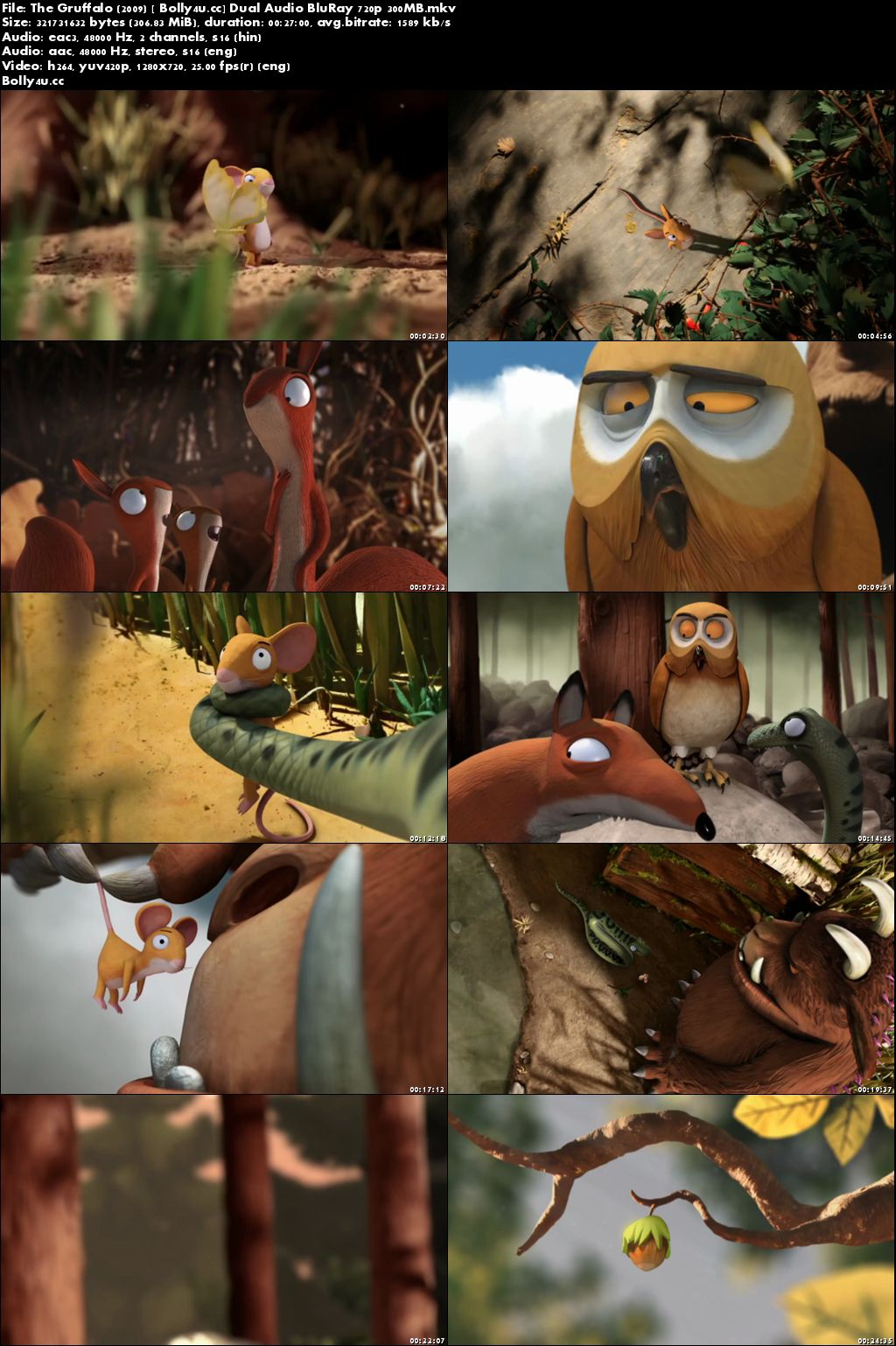 The Gruffalo 2009 BluRay 300Mb Hindi Dual Audio 720p Download