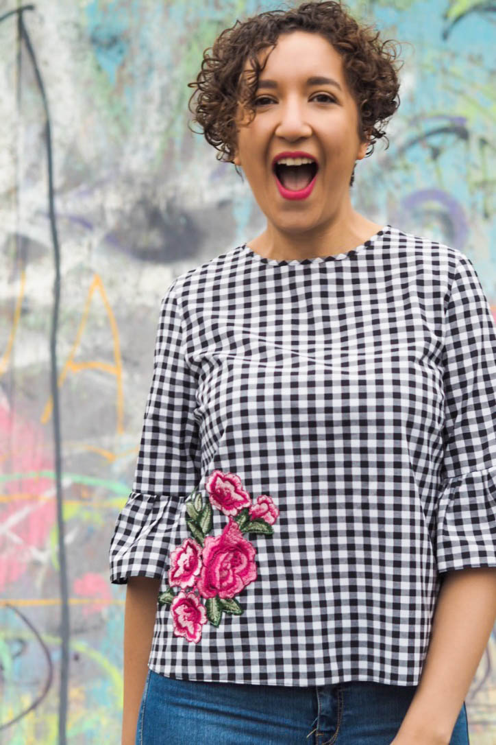 Gingham top with floral applique