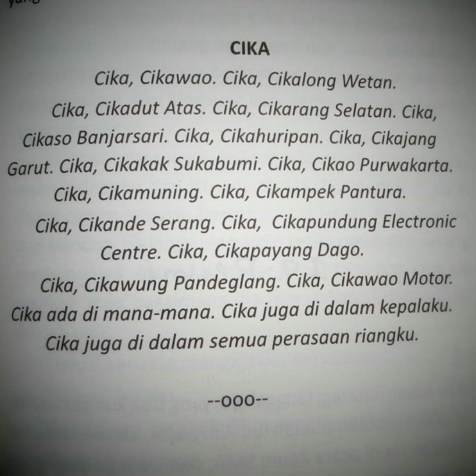 Puisi Dilan Untuk Cika _