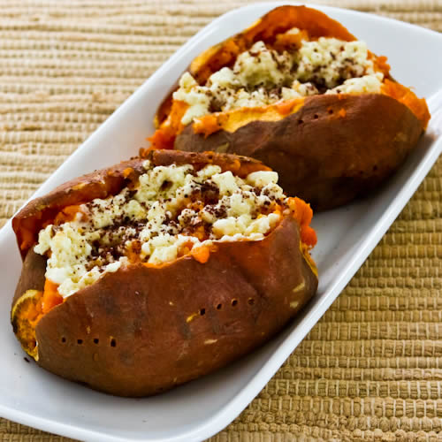 Chipotle Twice Baked Sweet Potatoes: Kalyn's Kitchen®: Twice-Baked Sweet Potatoes With Feta And