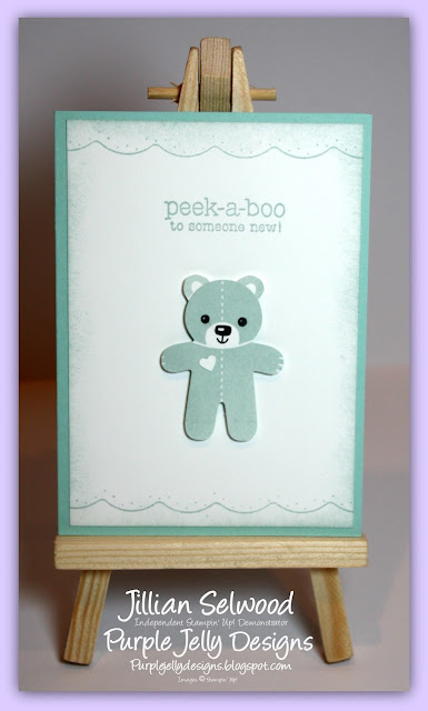 Soft Sky cardstock, New Baby card, Peek-a-boo to someone new