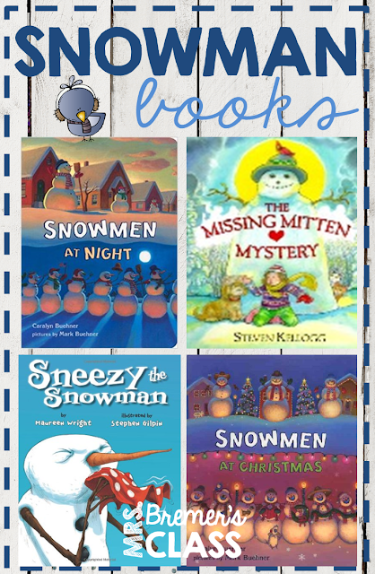 Kids favorite snowman themed books with companion activities to go with each one.