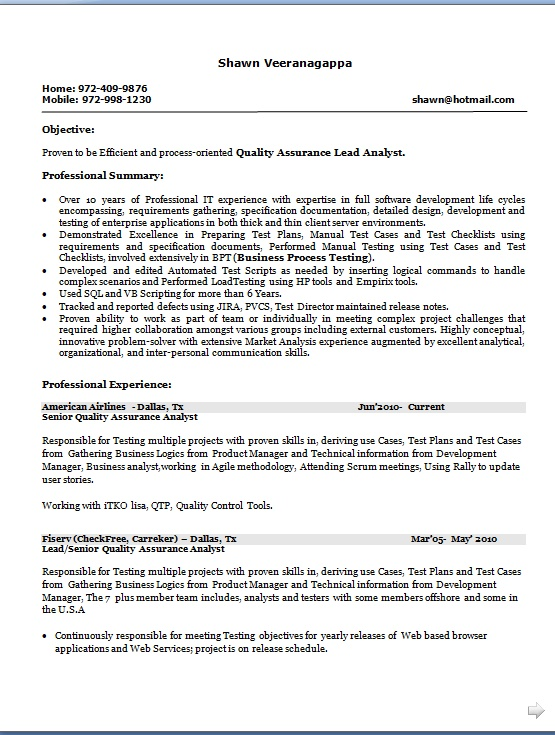 Oriented Quality Assurance Lead Analyst Sample Resume Format in Word
