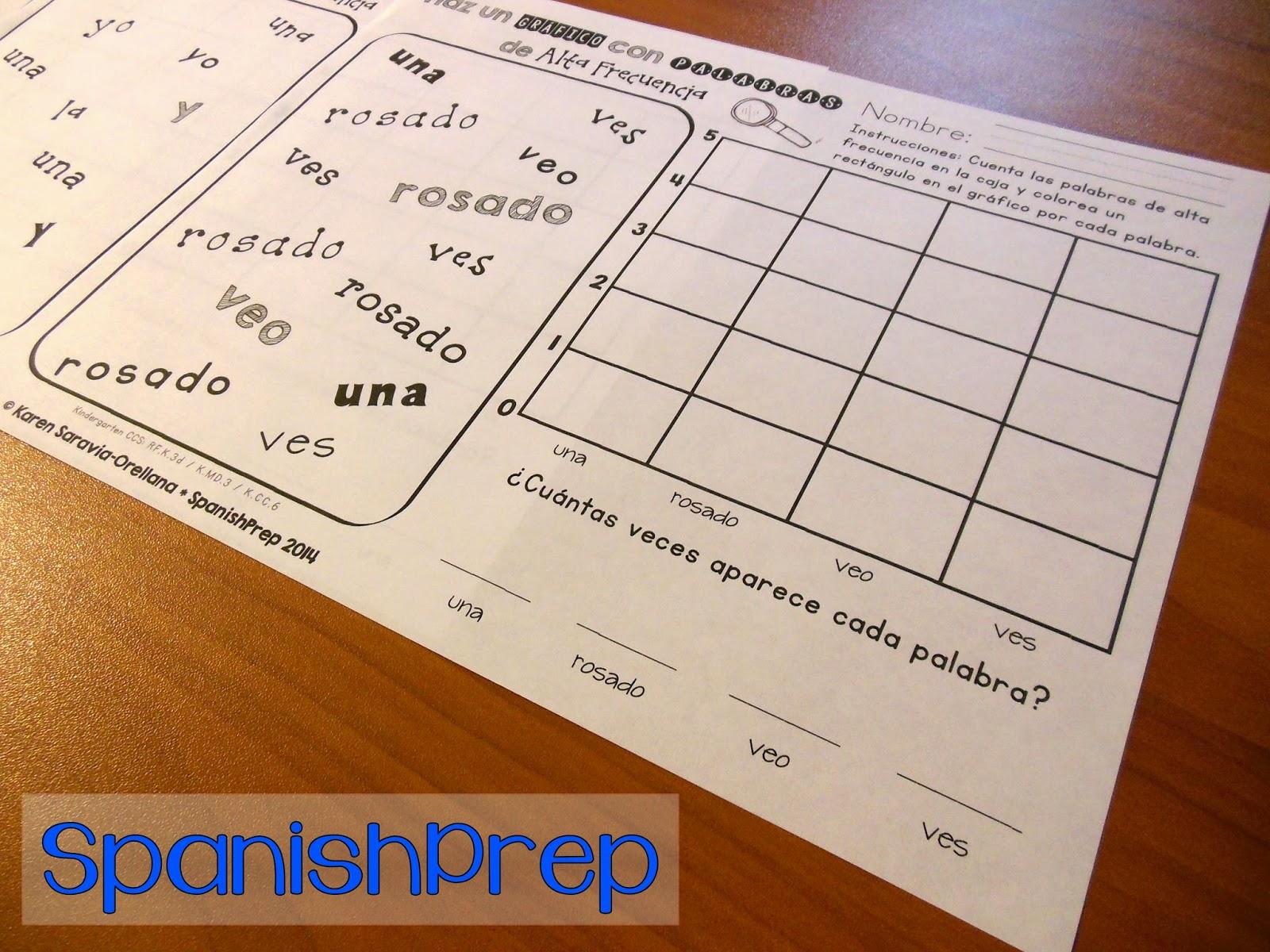 Spanishprep Blog Graphing Spanish Pre K Sight Words
