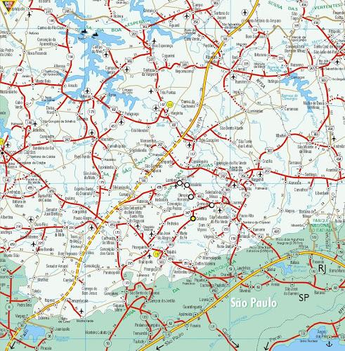 Mapa rodoviário do Sul de Minas Gerais