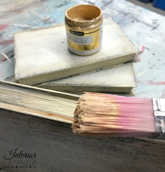 DIY Painted Books With Metallic Gold Book Pages