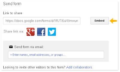 Google contact form embed