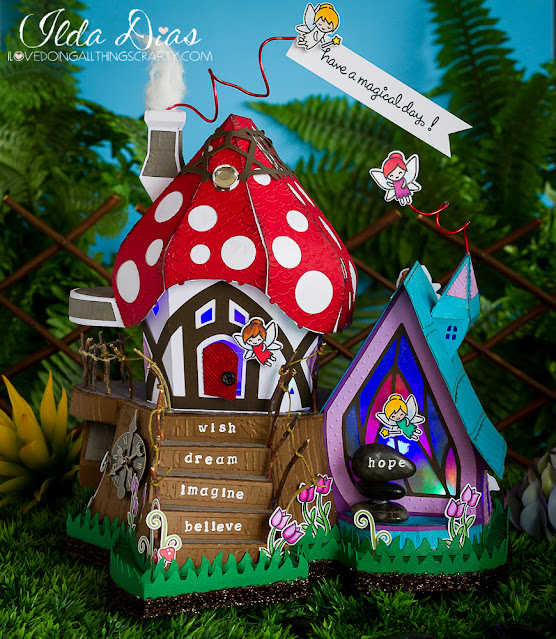 magic,SVG Cuts files,#SVGCuts,FREE file,cancer patients,ilovedoingallthingscrafty,papercraft,Fairy Cottage,3D Paper Art,fairy tale,3D House,Lawn Fawn Fairy Friends Stamp set,hospital,decoration,