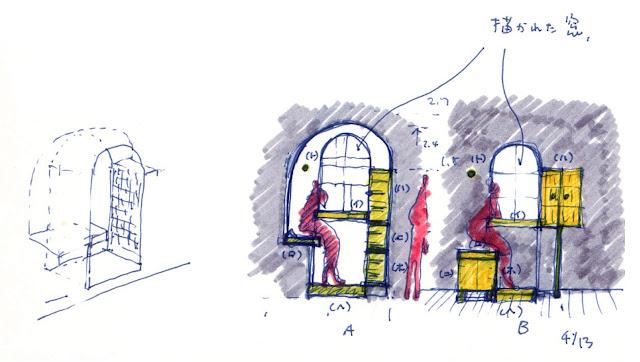 部屋の中に置く小さな窓辺のあるベンチ