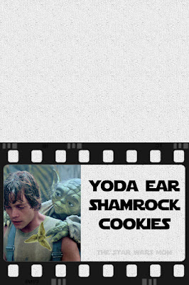 St Patrick's Day Star Wars Yoda Ear Shamrock Cookies Party Label