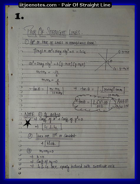 pair of straight line notes cbse