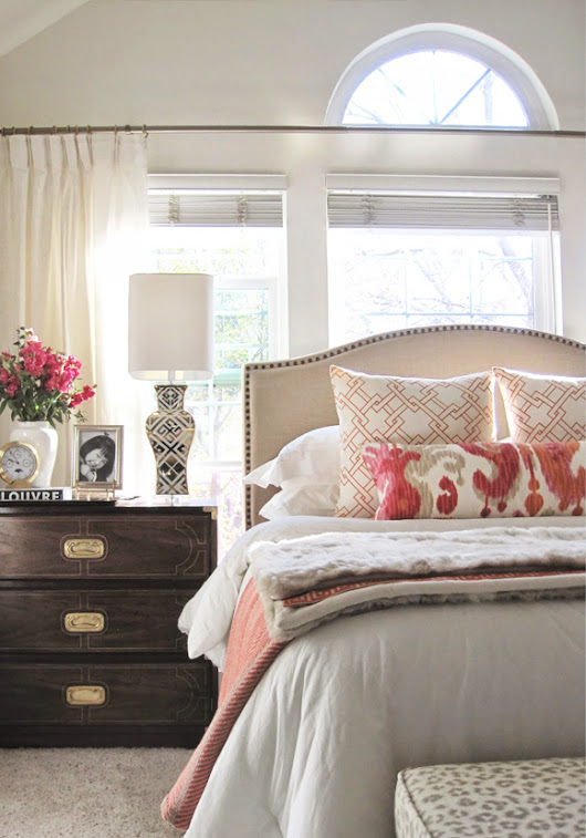 Lovely Clusters Inspiration: Bedroom with Pops of Coral
