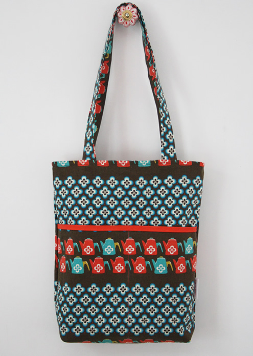 Retro tote bag coffee pots and flowers