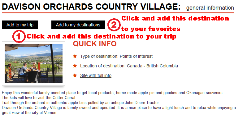 Add the destination 'Davison Orchards Country Village' to your trip or to your favorites list