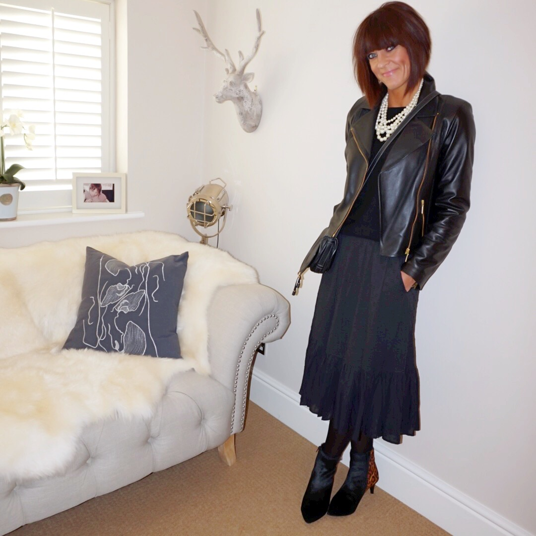 my midlife fashion, marks and spencer pure cashmere crew neck jumper, baukjen leather biker jacket, j crew twisted hammock pearl necklace, chloe marcie crossbody bag, marks and spencer kitten heel ankle boots, j crew ruffle eyelet skirt