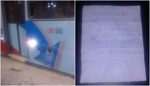 carta com motivos do ataque para incendiar ônibus em Fortaleza