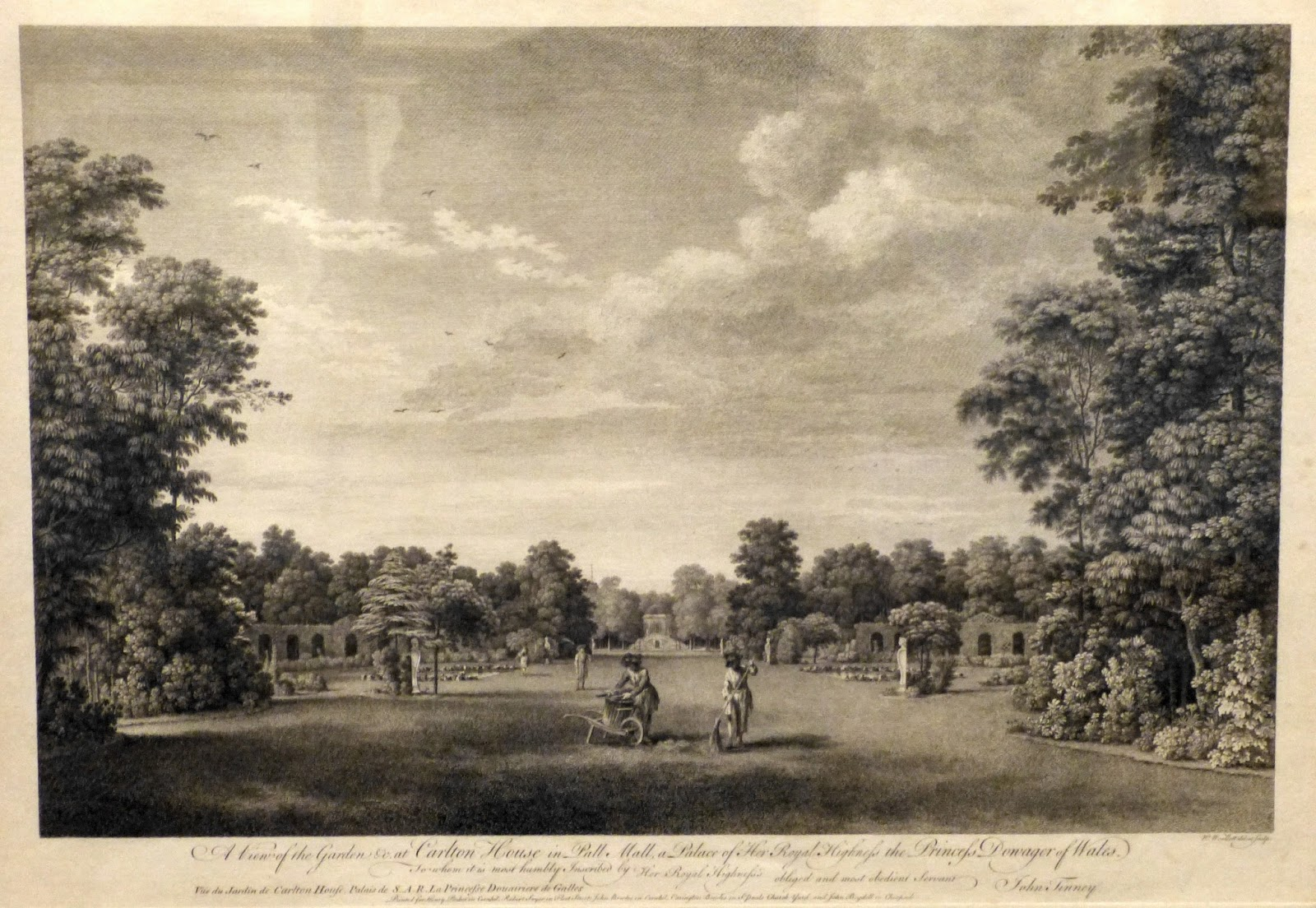 A view of the garden &c at Carlton House in Pall Mall  by William Woollett (1760)