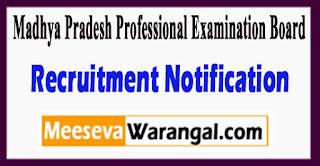 Madhya Pradesh Professional Examination Board Recruitment Notification 2017 Last Date 07-07-2017