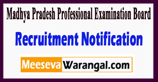 Madhya Pradesh Professional Examination Board Recruitment Notification