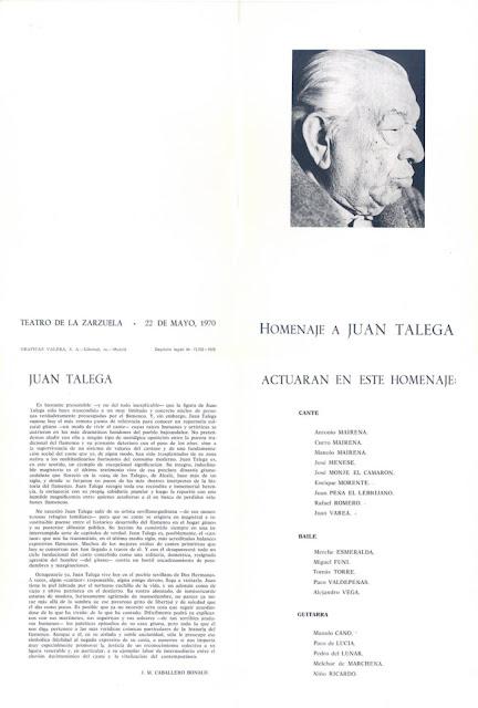 HOMENAJE A JUAN TALEGA MADRID 1970