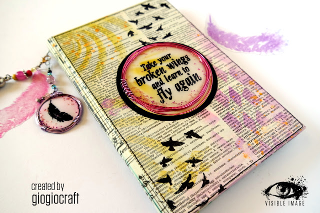 altered book cover | rubber stamps