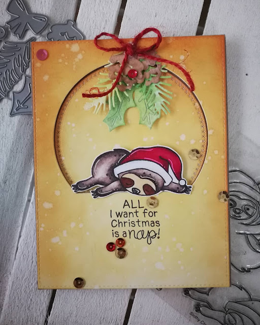 All I want for Christmas is a nap by Silvia features Slothy Christmas and Pines & Holly by Newton's Nook Designs; #newtonsnook