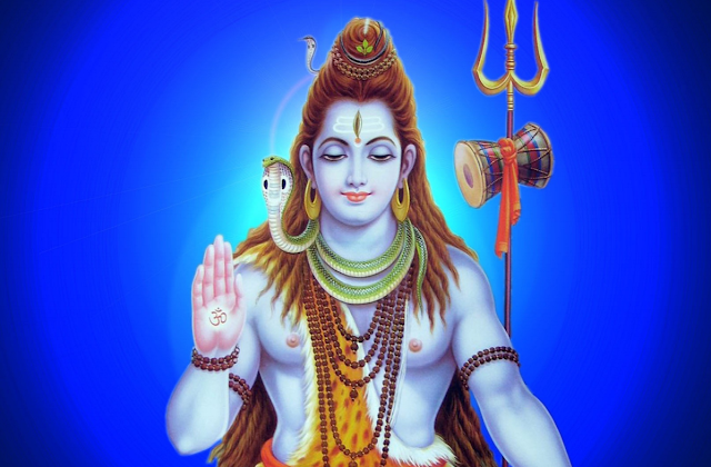 Lord Shiva Lovely  Wallpaper In Blue Background