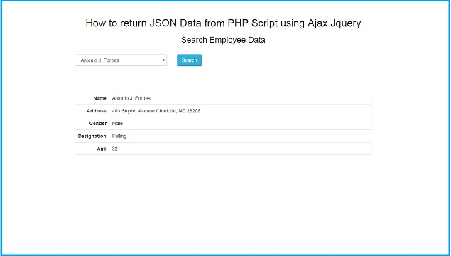 JQuery Ajax Call to PHP Script with JSON return | Webslesson