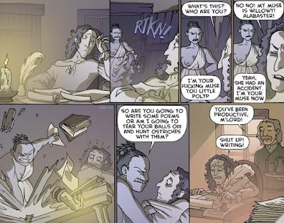 Humor sobre la musa del escritor Caliope