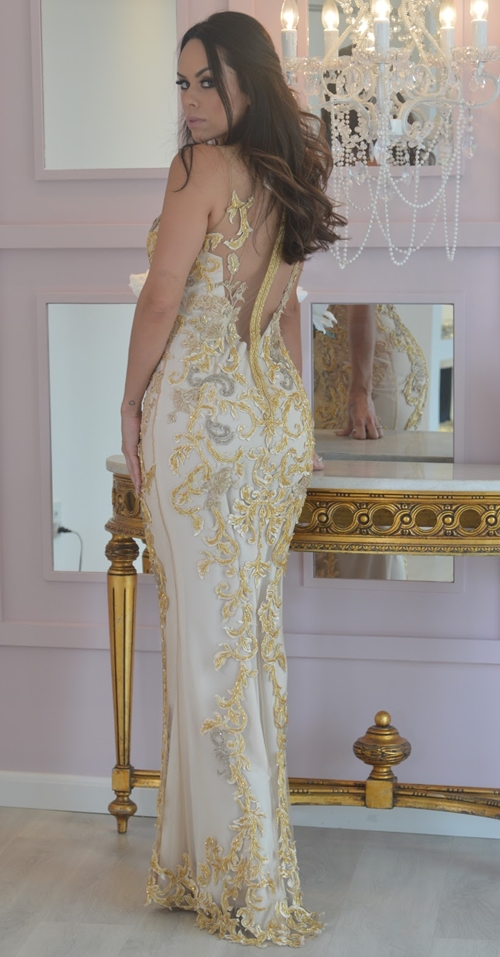vestido de festa dourado amarelo