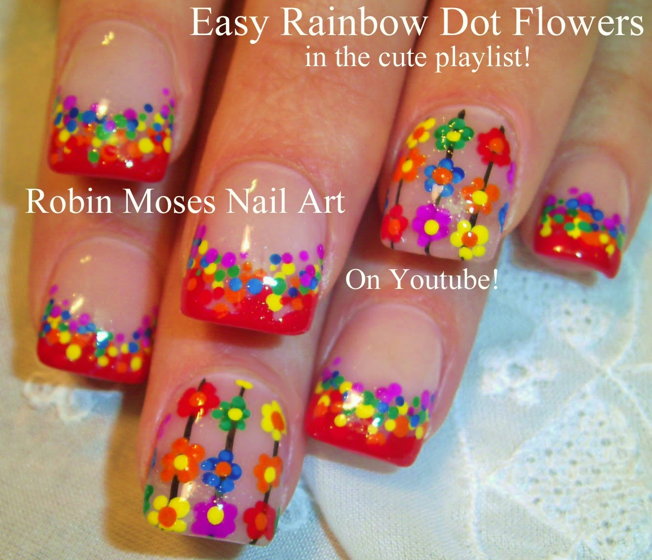 Nail Art By Robin Moses Rainbow Nails Rainbow Nail Design