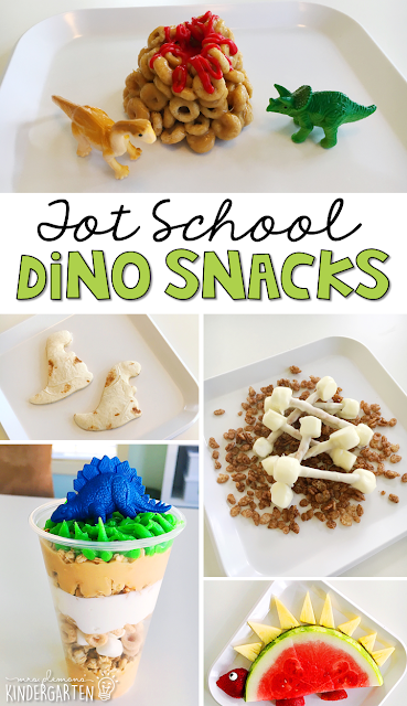 These yummy snacks are perfect for a dinosaur theme in tot school, preschool, or kindergarten!