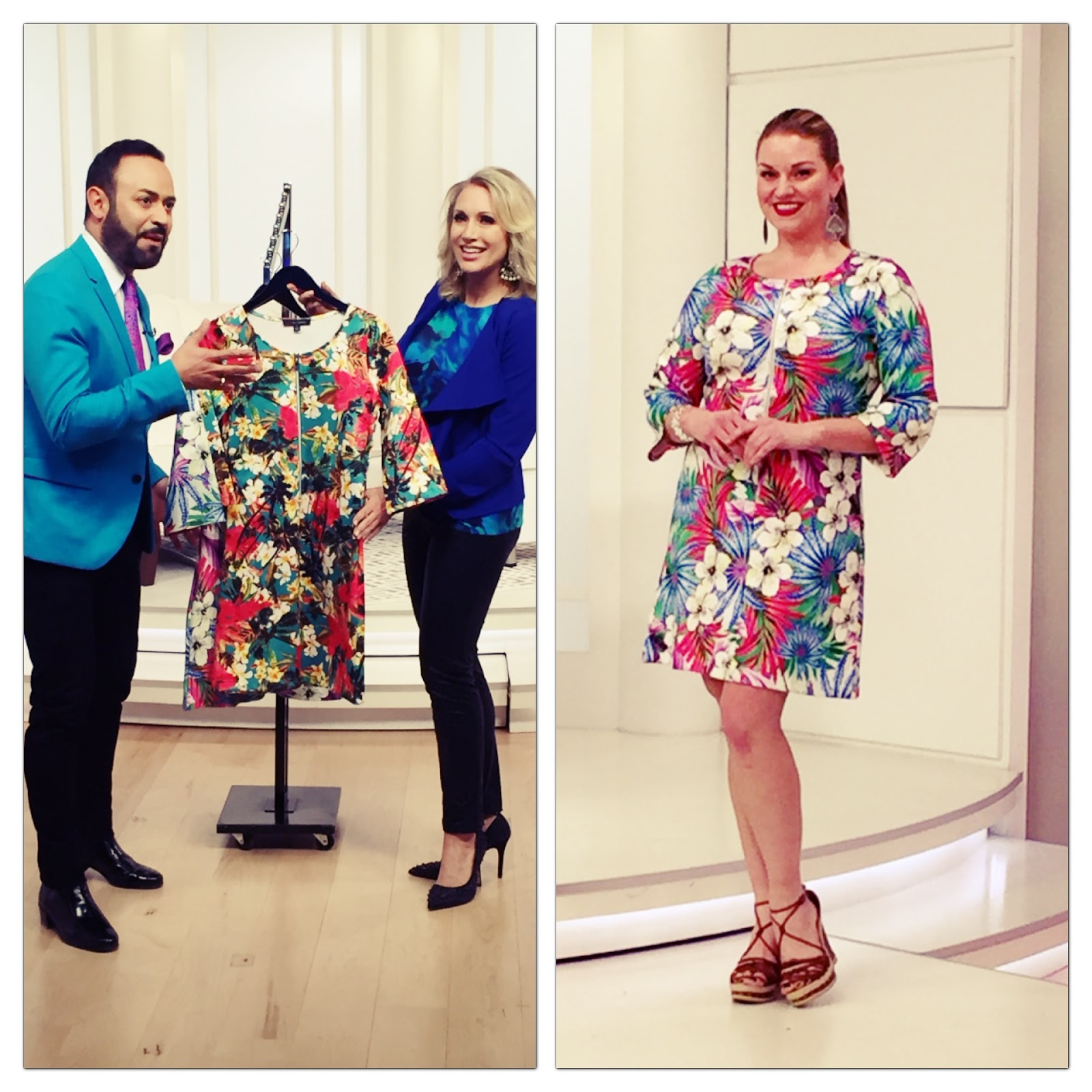 60f6b060f2069 Nick Verreos and model wearing NV Nick Verreos EVINE Live Printed Stretch  Knit Bomber Jacket