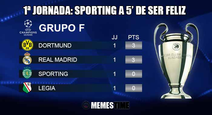 Memes Time - Classificação após a 1ª Jornada do Grupo F da Champions League: Real Madrid 2 - Sporting 1 e Legia 0 – Dortmund 6 – 1ªJornada: Sporting a 5' de ser Feliz