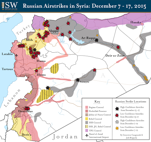 Russian Airstrikes in Syria: December 7 - 17, 2015