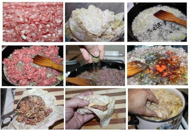 Elaboración del plato tradicional búlgaro Sarmi con carne picada y ajedrea paso a paso