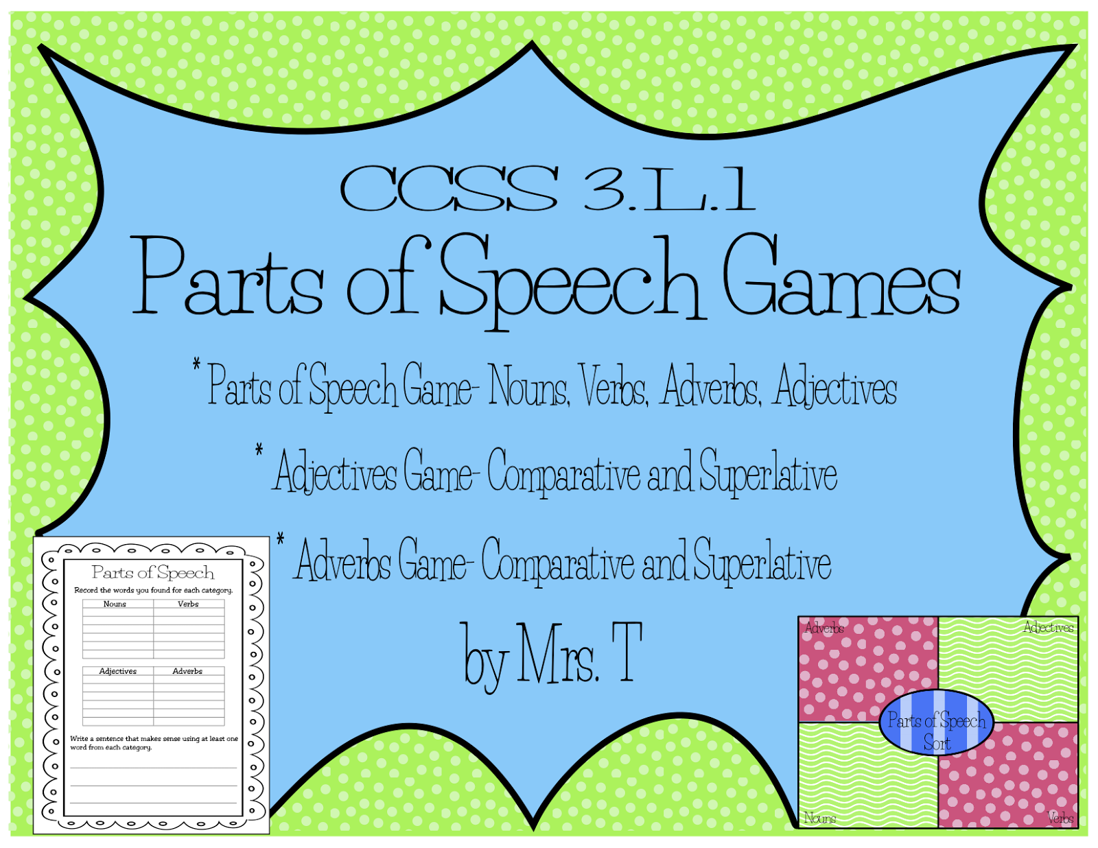 8 parts of speech game