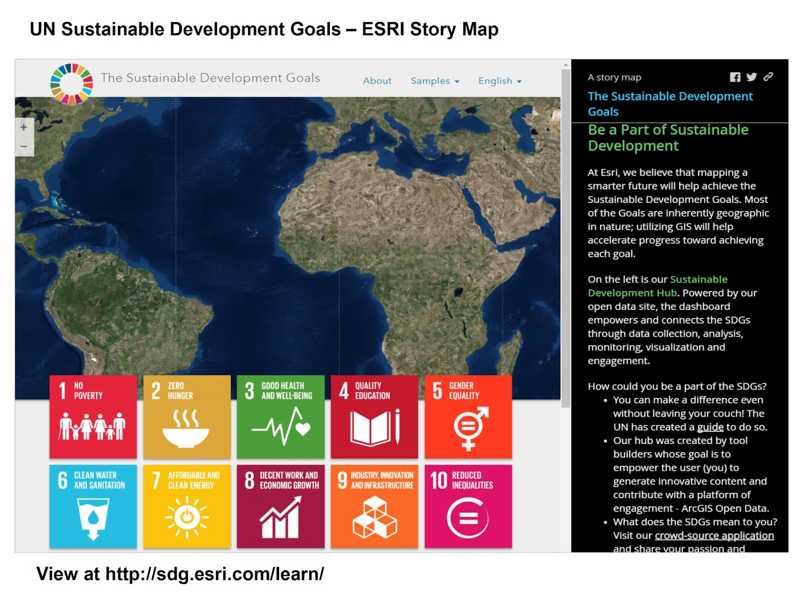 mapping un s sustainable development goals esri story map