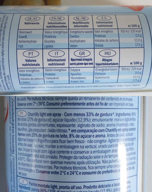 Ingredientes e informação nutricional (clique para aumentar)