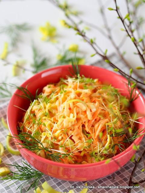 surowka z pora, por, pory, warzywa, dodatek do obiadu, obiad, pyszna suroweczka, witaminy, zdrowe warzywo, co zrobic z pora