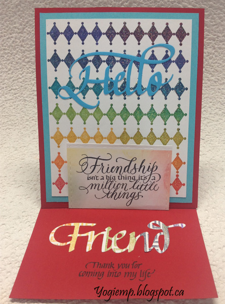 http://yogiemp.com/HP_cards/RainbowMakerClass/RainbowMakerDay2_RainbowStampingHarlequin_ECDHelloFriend_Friendship.html