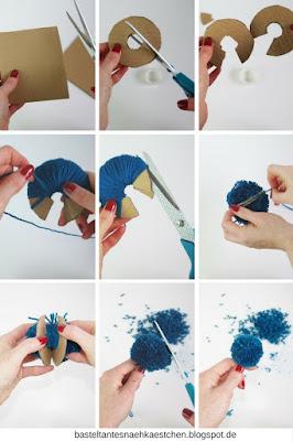 Collage Pompoms (Bommel) mit Pappe selber machen