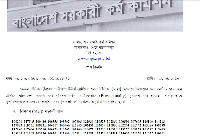 39Th-BCS-Special-Result-www.bpsc.gov.bd