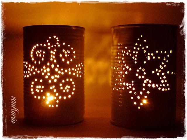 leuchtenden Dosenlaternen aus Konservendosen