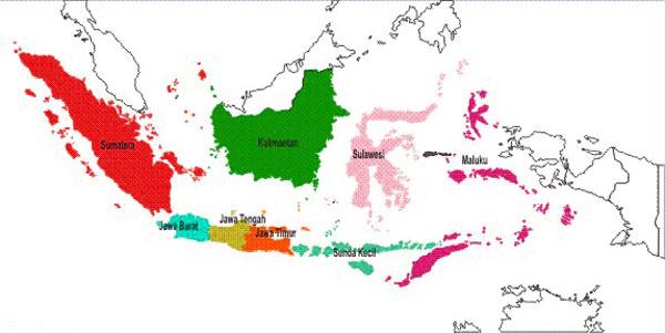 Peta 8 provinsi pertama di Indonesia